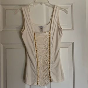 Cache Creme Embellished tank top